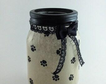 Animal Decor, Fairy Jars, Mason Jar Lanterns, Mason Jars, LED Lights, Flameless Candles, Night Light, Mason Jar Decor, Gift Idea, Paw Print