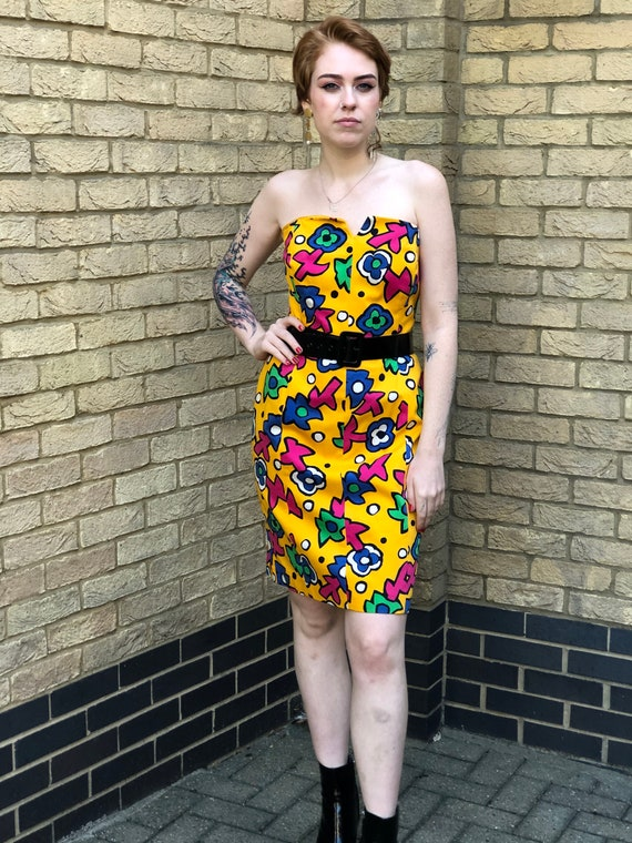 ESCADA- Yellow Floral Strapless 80s Bustier Wiggle