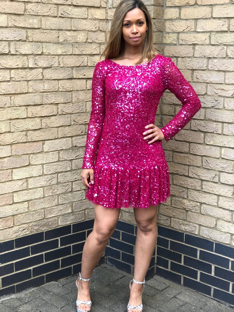 Think Pink 80s drop waisted sequin party dress