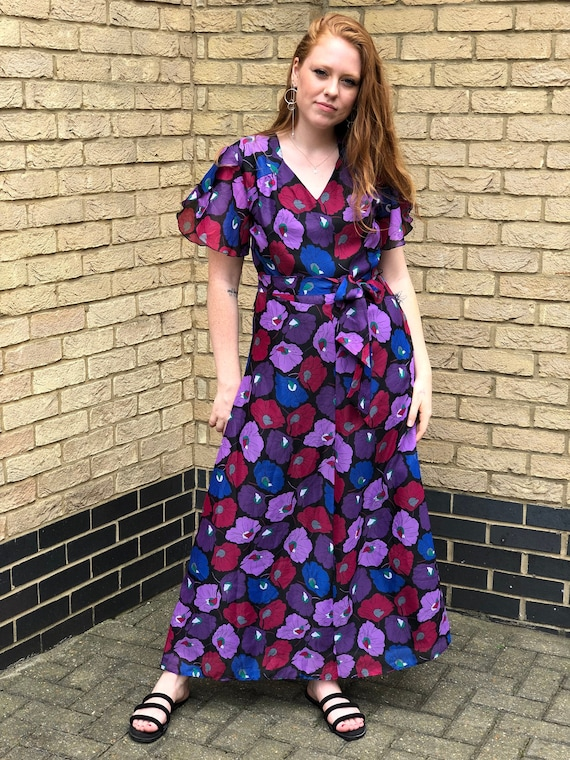 Poppy Queen- 70s floral floaty boho maxi dress