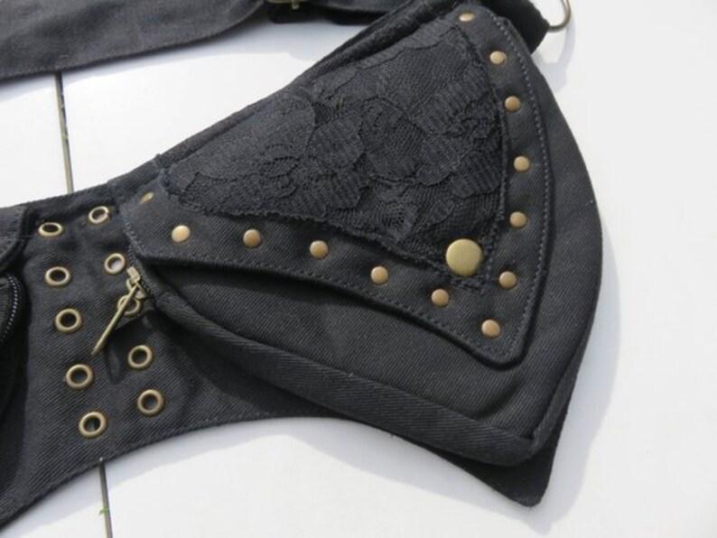 Steampunk Pocket Belt Psytrance Rave outfit Pixie Hip Bag Burning Man utility Belt Bum Bag Festival Fanny Pack Canvas Hippy belt