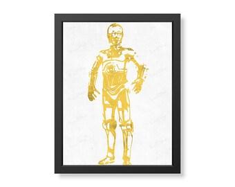 C3PO Star Wars Wall Art, Poster, Digital Image.