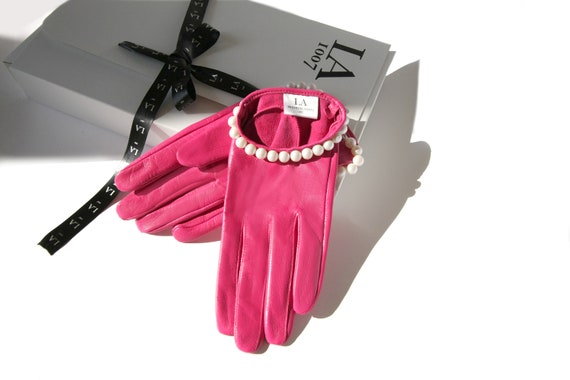 d80baef1b089e Fashion Gloves Pink Leather Women Gloves Leather Gloves Lady