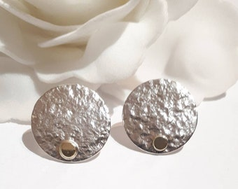 Sterling silver circle earrings textured with 14carat yellow gold
