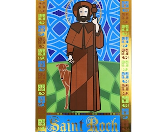St Roch Patron Saint of Dogs 4x6 inch print with gold foil details