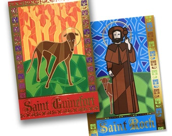 Both St Roch card AND St Guinefort card - 4x6 inch prints with gold foil details