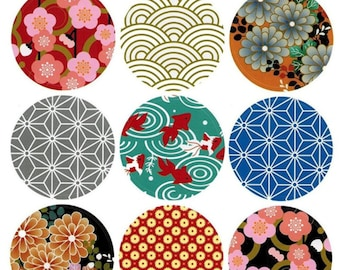 High Quality Japanese Traditional Style Pattern Round Sticker 18 Pcs Envelope seals Deco Scrapbooking Embellishments Asian Oriental