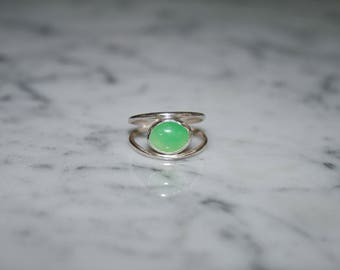 Chrysoprase and Sterling Silver Midi Ring