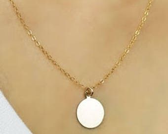 Simple Modern Chic Circle Charm Pendant Gold Filled Dainty Layered Layering Necklace Jewelry Gift