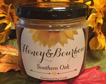 Southern Oak Soy Candle - Scented Soy Candle - Soy Candles - Unique Gift - Gifts for Her - Gifts for Him - Holiday Gifts - Honey and Bourbon