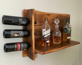 Bar Shelf with Wine Rack Reclaimed Wood