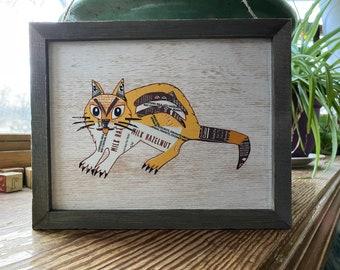 "Chipmunk collage on wood 10""x8"""