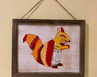 "Decoupage Squirrel Art 8"" x 10"""