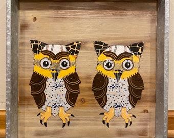 "Collage Decoupage Owls 15.75"" x 15.75"""