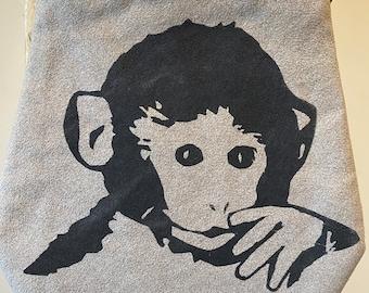 Baby monkey printed on ultrasuede purse