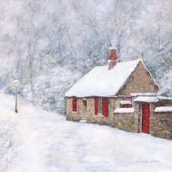 Art Print Prebends Cottage Cottage In Snow Snow Scene Etsy