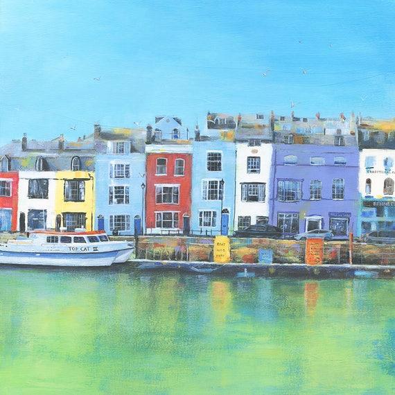 Weymouth Harbour lino print