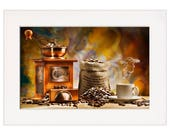 Kitchen Coffee Grinder Wall Art Print in a Textured Card Picture Mount to fit into your own A4, 50x40cm or 20x16 inch frame