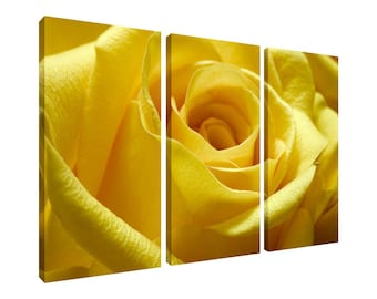 Canvas 3 Piece Wall Art Multi Panel Print Yellow Rose