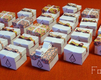 25 origami advent calendar boxes at top