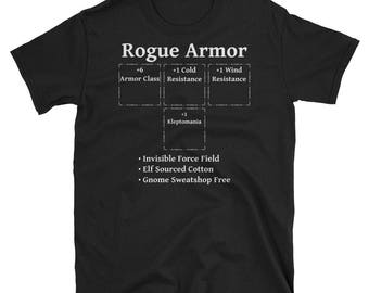 Rogue Armor: Role Playing DND 5e Pathfinder RPG Tabletop RNG Short-Sleeve Unisex T-Shirt