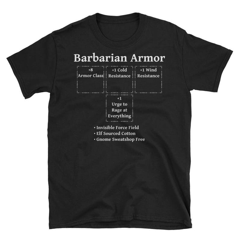Barbarian Armor: Role Playing DND 5e Pathfinder RPG Tabletop RNG  Short-Sleeve Unisex T-Shirt