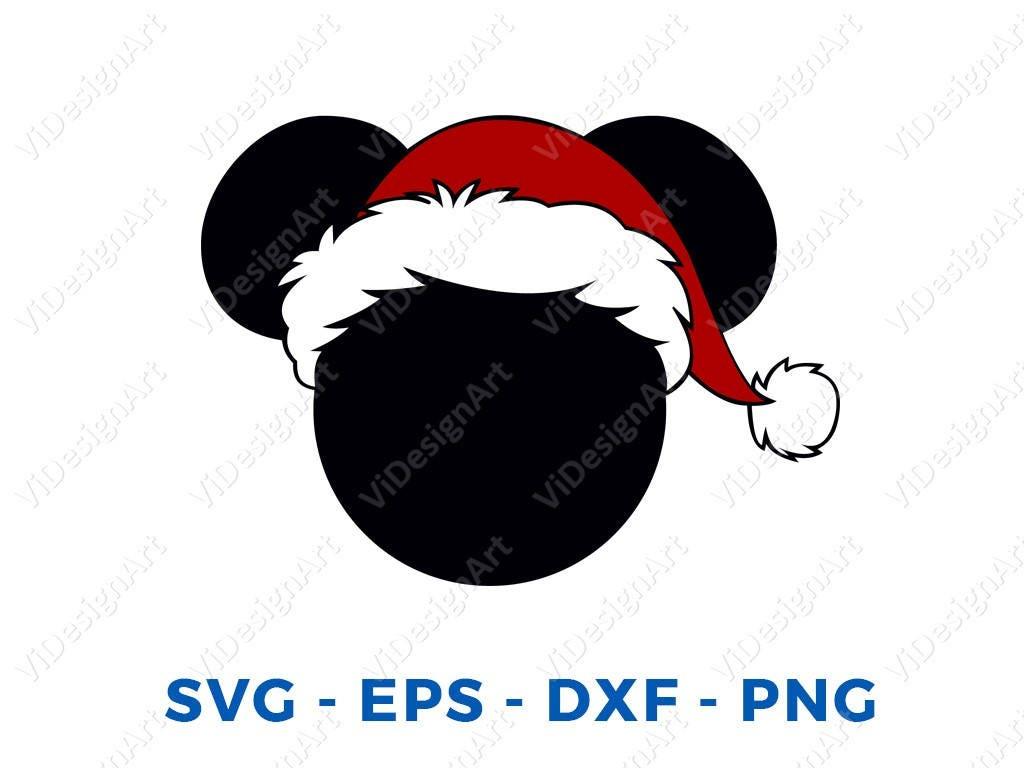 ad2162592e1b9 Mickey Holiday Christmas Santa Hat SVG DXF Png Vector Cut File