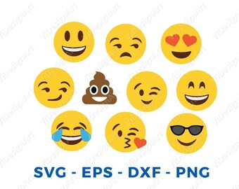 Emoji SVG Collection - Emoji Clipart - Smiley faces svg - Emoji Svg Files for Silhouette Cameo or Cricut