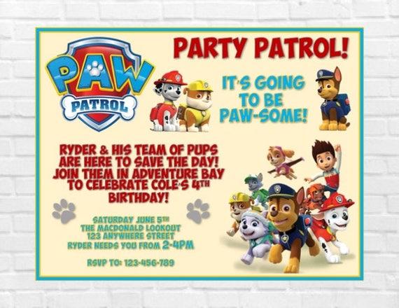 Paw Patrol Birthday Invitation Party Boy Girl