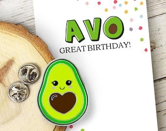 Avocado Pin AVO Great Birthday pin and card set enamel pin love friendship inspirational gift