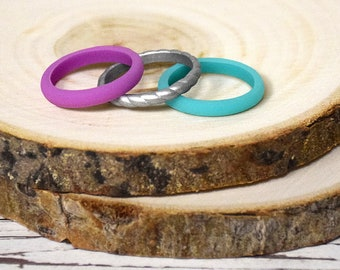 Stackable Silicone Ring Set - Blue Silver Purple