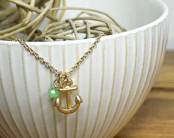 Gold Anchor Necklace Safe Harbor Necklace gold anchor with small teal or mint charm