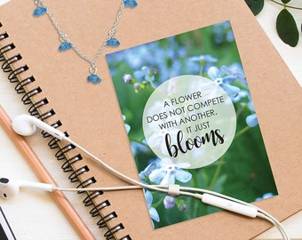 small blue blossom necklace Just Bloom blue flower forget me not Necklace