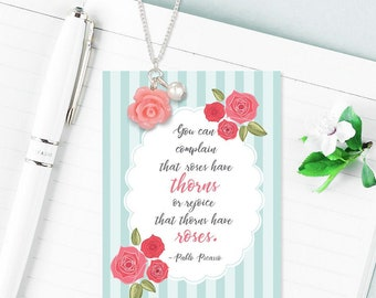 Rose with white pearl Necklace dainty pink rose rejoice good life positive message friendship necklace gift