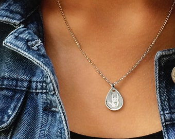 I love you sign language tear drop dainty pendant necklace silver finish ASL American sign language