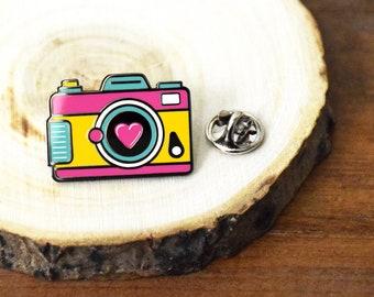 Retro Camera Photography  Enamel Backpack pin