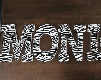 Zebra Wood Letters