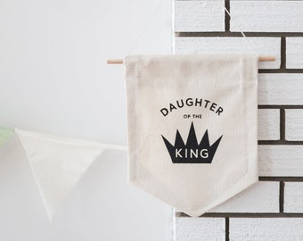 Daughter of the King Pennant Flag   Kids Room Decor   Canvas Pennant Flag   Canvas Banner   Wall Hanging   Nursery Wall Hanging