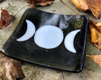 "Fused Glass Triple Moon Dish 4.5""X4.25"""
