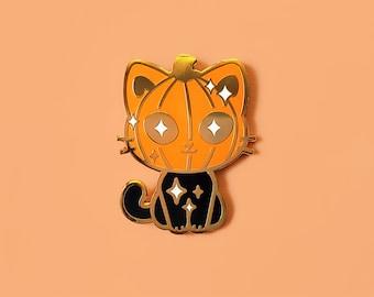 "1.5"" Pumpkin Cat Gold Hard Enamel Pin"