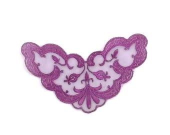 lace, purple embroidered applique