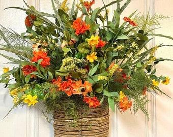 Wreaths For Front Door   Summer Front Door Wreath   Wildflowers  Farmhouse Wreath   Hanging Basket Wreath   Summer Wreath Wildflowers Willa