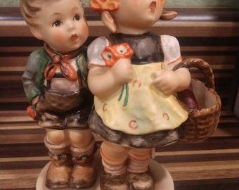 "Vintage Hummel Goebel ""To Market"" Boy and Girl with basket, bottle, and flowers Western Germany"