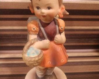 "Goebel Hummel Figurine SCHOOL GIRL #81 2/0  W Germany  5"" tall basket and knapsack backpack West Germany"