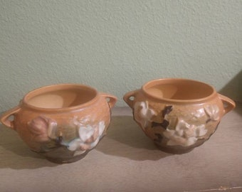 """Pair of lovely Roseville Magnolia Handled Jardiniere in Apricot Early 1940s.  665-3"""" planters, vases. Excellent Condition, Rare color."""