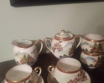 Soho China tea pieces. Sugar, cream, cups, saucers, Geisha lithophane. Hand Painted.