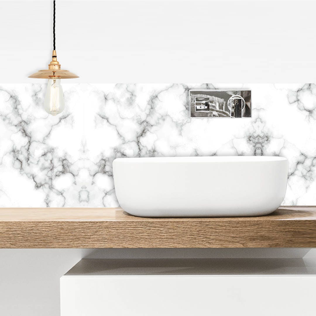 Credence Qui Se Colle waterproofed adhesive tiled marble white