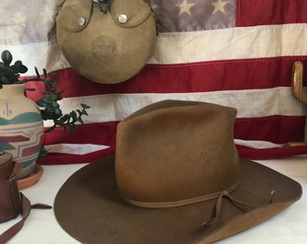 e5c4f77db9c 1970 s Worn and Torn Pinch Crown Cowboy Hat