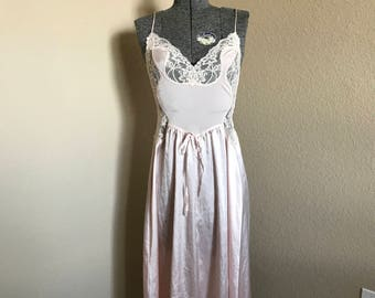 Olga Light Pink Tea Length Nightgown - Vintage 1980s