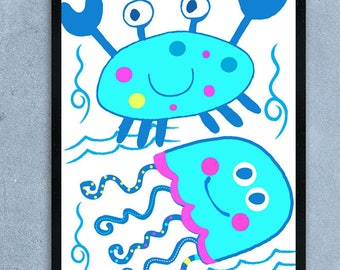 Sea Animals Nursery, Sea Animals Wall Art, Printable Decor, Ocean Theme Nursery, Wall Art Printable, Nursery Decor, Instant Download